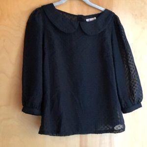 Anthropologie Tulle black Swiss Dot blouse size XS
